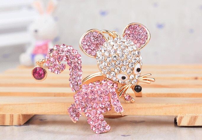 Charm Fashion Rhinestone Animal Crystal Mouse Metal Key chain Keyring Holder Trinket Fobs for Women Girl Gift Souvenir Jewelry(China (Mainland))