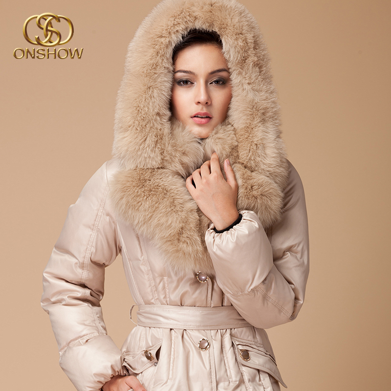 2013 Winter Women Luxurious Ultra Fox Fur collar Down jacket Slim Medium Long Hooded Fur Coat Free EMSОдежда и ак�е��уары<br><br><br>Aliexpress
