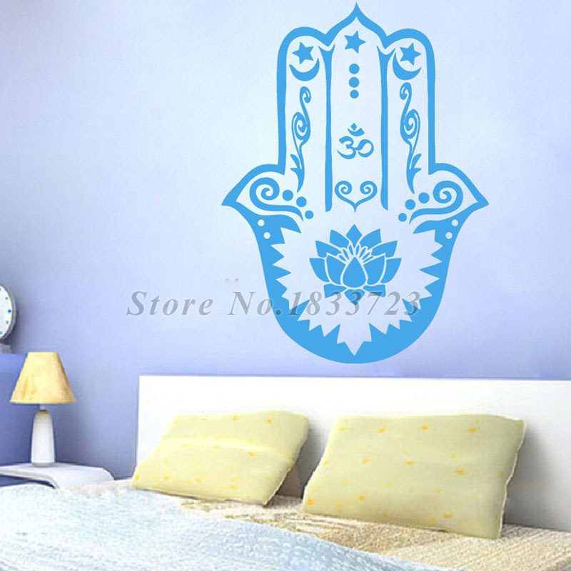Hamsa Hands Wall Stickers Home Decor Lotus Indian Fatima Wall Decal Vinyl Sticker Art Adhesive