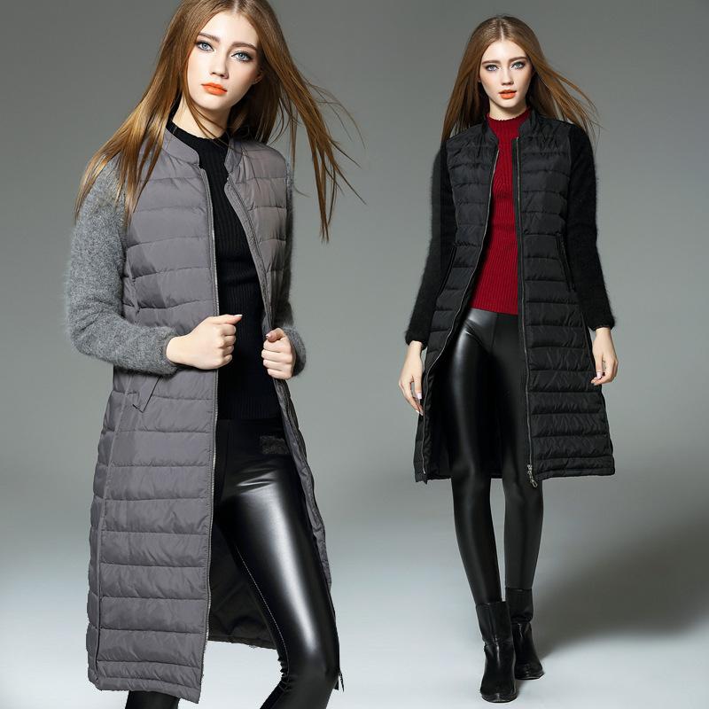 Mink cashmere Sleeve Long Down Jacket, Winter Jacket Women Down Coat Women's Down Jackets,Women Plus Size Down Long Parka 2015
