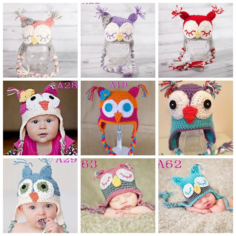 2016 Provide Market Hand Beanie hats Winter Owl Handmade baby funky Knitted Hat baby hat crochet pattern 50pcs(China (Mainland))