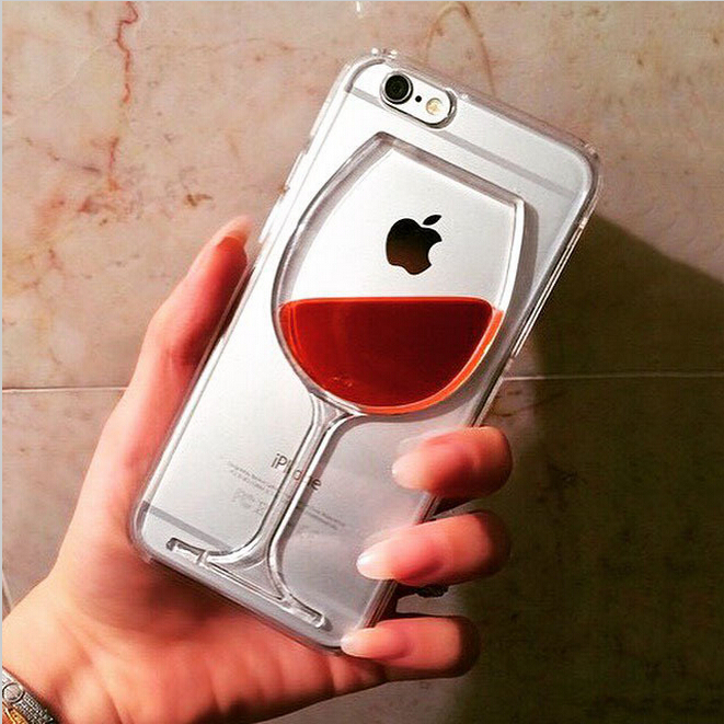 Hot sale Red Wine Cup Liquid Transparent Case Cover For Apple iPhone 6 6 Plus 5 5s 4 4s All Models Phone Cases Back Covers(China (Mainland))