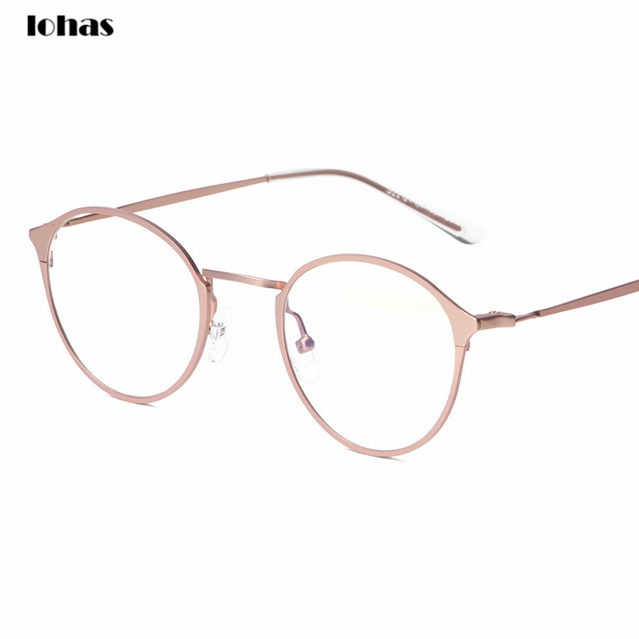 high quality stainless steel optical eyeglasses frame rose gold metal glasses frames men women round clear lens vintage eyewear