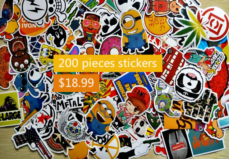 200Pcs Home decor jdm car sticker on car styling laptop sticker decal motorcycle skateboard doodle stickers for car accessories(China (Mainland))