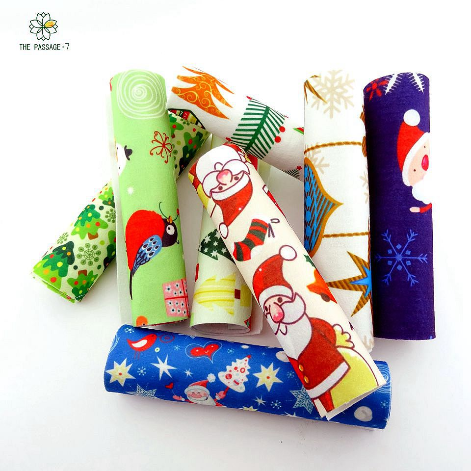Felt felt diy printed christmas fabric thick1.2mm polyester felt mix soft from home textiles for sewing handicrafts 20x30cmM-ZH(China (Mainland))