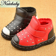 Men and women shoes the british tide rivet short boots heat preservation baby shoes NX0662(China (Mainland))