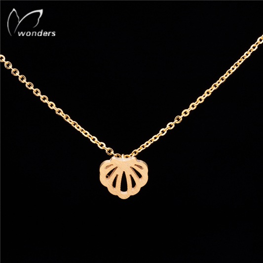 2015 New Arrival Minimalist Modern Jewelry Gold Silver Cool Scallop Pendant Chain Necklace For Women Men Teens Engagement Bands<br><br>Aliexpress