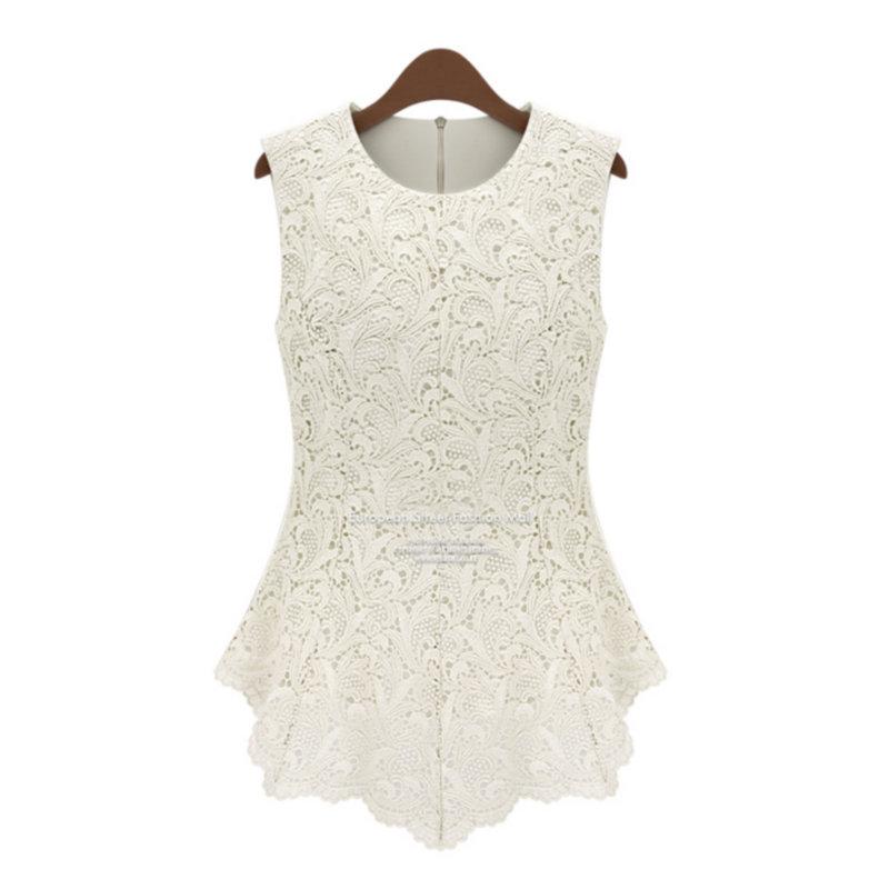 Fashion and Elegant Round Neck Pullover Sleeveless Lace Chiffon Tank Tops Bottoming Shirt Free Shipping(China (Mainland))
