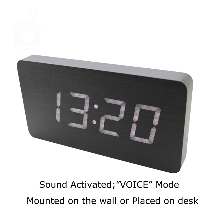 2015 New Style Slim 21*11*2.5cm LED Wooden Clock Sound Activated Desktop Led Clock On The Wall Digital Alarm Clock Free Shipping(China (Mainland))