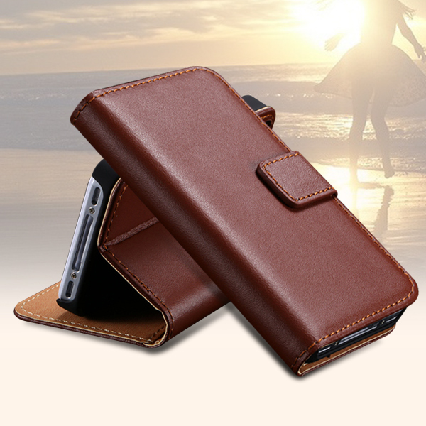 Mobile Phone Bags & Cases Genuine Leather Case For Apple iphone 5S Wallet Stand With Card Holder Cover For iphone 5 5S(China (Mainland))