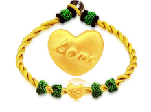 999 3D 24K Yellow gold Heart LOVE Knitted Bracelet(China (Mainland))