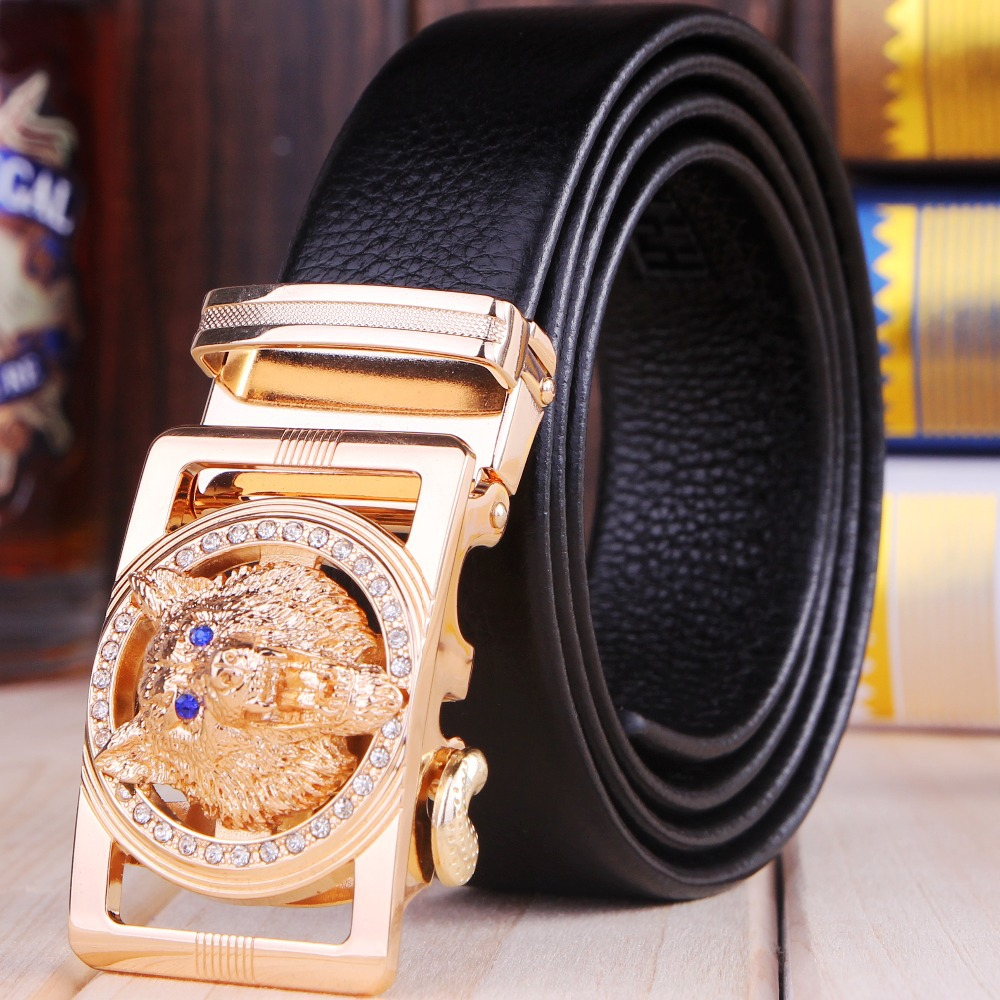 Gold jaguar belts for men belt high quality top grain 100% genuine leather real 2015 brand luxury designer automatic buckle hot(China (Mainland))