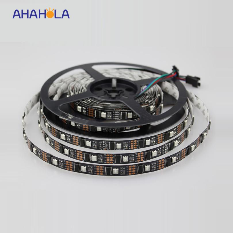 5v magic color rgb addressable 5m ws2801 led strip,32pcs ws2801 ic control 5050 rgb led strip,black pcb