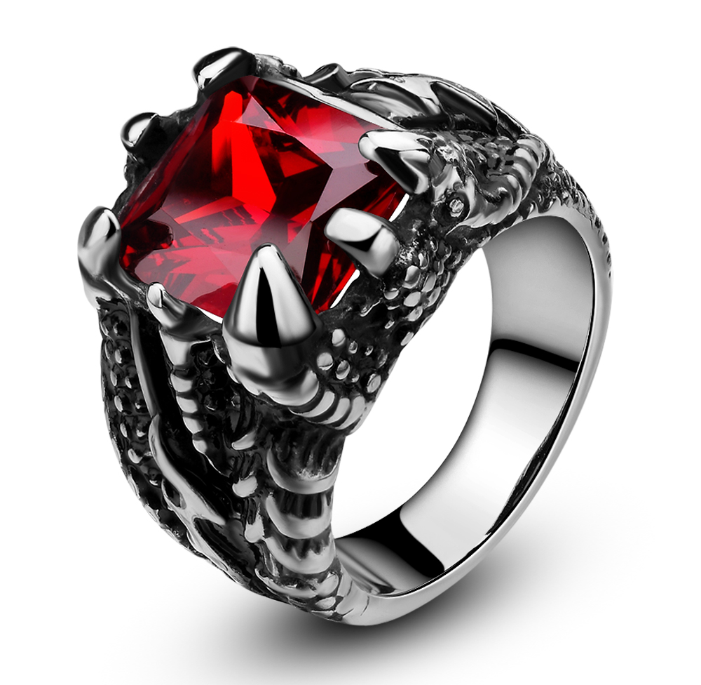 Men's Stainless Steel Ring Gothic Dragon Claw Design with Red Stone Band Comfort Fit Size 6 -14(China (Mainland))