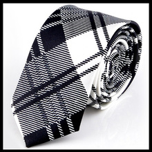 White Chequers Plaid Men's Neckties Korean ties for man Formal Business Retail wholesale Free shipping
