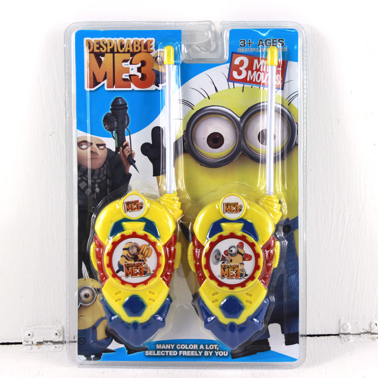 2pcs/lot Minion Cartoon Toy Interphone Children Game Intercom Electronic Toy Walkie Talkies Toys For Kid Gifts #CB(China (Mainland))