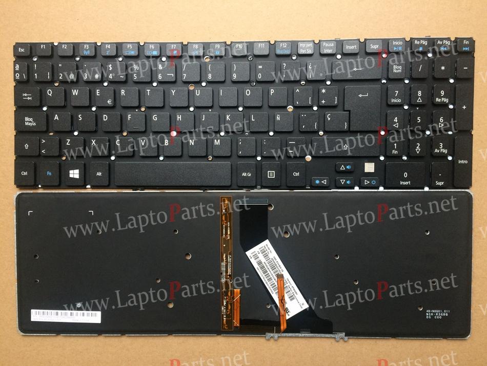 New SP Spain backlit Keyboard for Acer Aspire V5 V5-531 V5-531G V5-551 V5-551G V5-571 V5-571P V5-531P With backlit keyboard(China (Mainland))