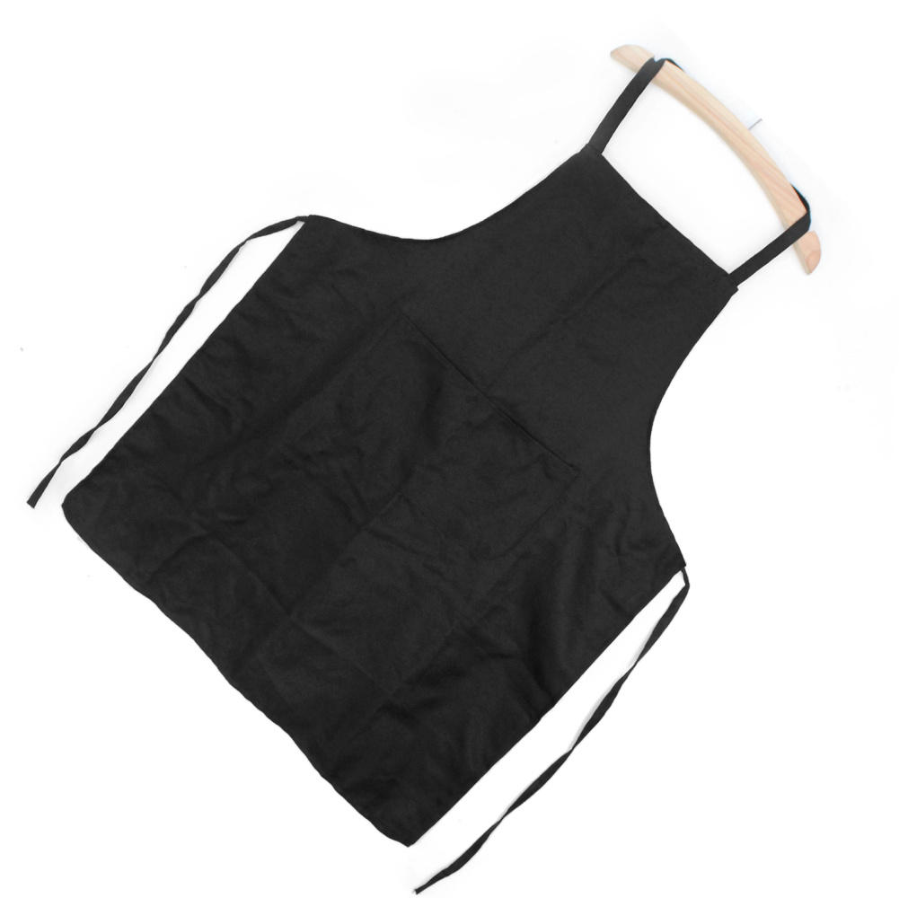 One Piece Black Polyester Kitchen Dining Household Restaurant Chef Full Bib Apron With Pocket For Unisex Men or Women Useful(China (Mainland))