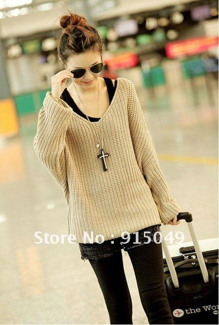 D778 Womens Vintage Deep-V Bulky Soft Baggy Jumper Sweater 8/10/12