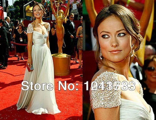 2014 Free Shipping Chiffon Fabirc Ivory And Silver Gray Color Cap Sleeve Name Brand Oscar Prom Dress(China (Mainland))