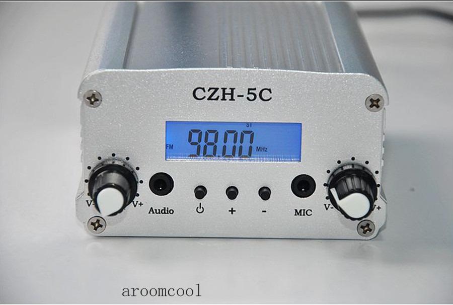 Free shipping CZH-5C Radio Broadcast Station 1W/6w Fm Stereo PLL Transmitter(China (Mainland))