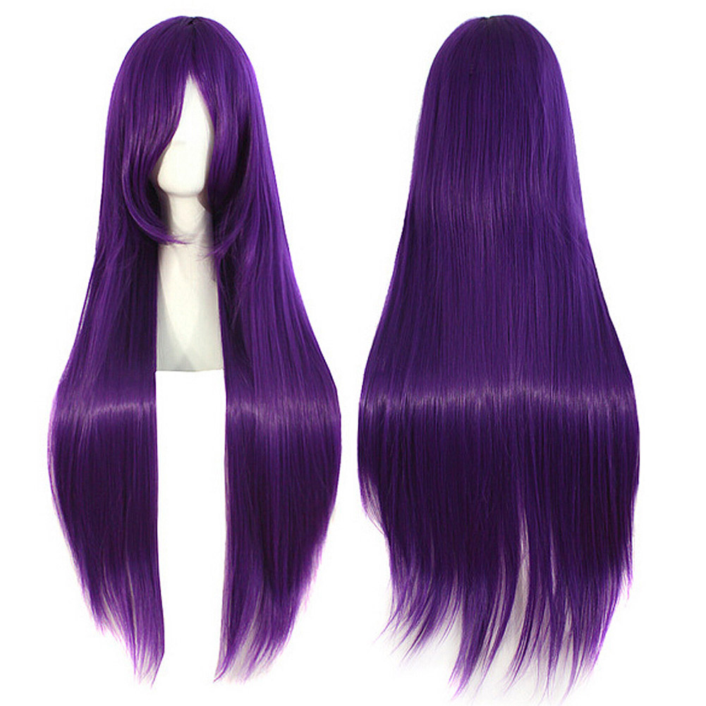 Women's Purple Wigs With Bangs Long Straight Hair Fluffy Hair HB88(China (Mainland))