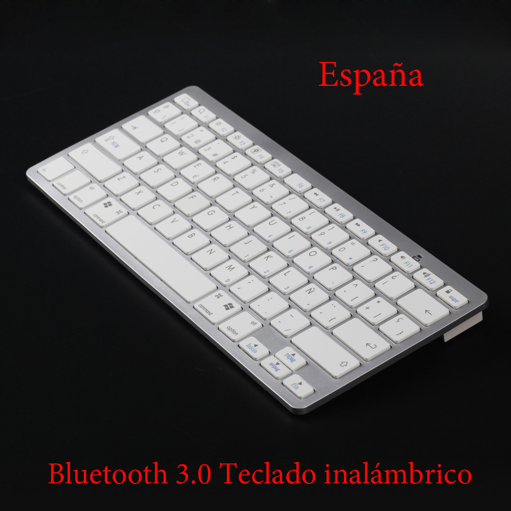 Spanish Keyboard Super Slim Wireless Bluetooth Keyboard for iPad/iPhone 5s OS/Android/Window Mobile/Symbian Smartphone/MAC/PC(China (Mainland))