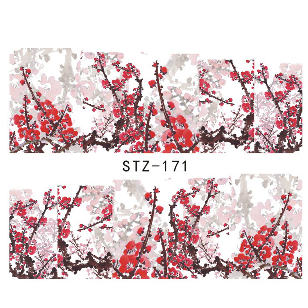 1 Sheet Nail Decals Plum Flowers Nail Art Beauty Wraps Water Transfer Stickers Polish Manicure Tips Decorations Tools STZ-171(China (Mainland))