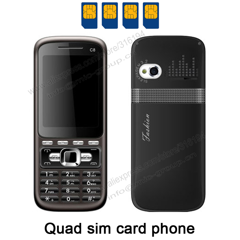 4 Sim Cards 4 Standby Mini Slim Mobile Phone with Metal Cover Analog TV Bluetooth Camera MP3 Russian Keyboard Cheap Phone P411