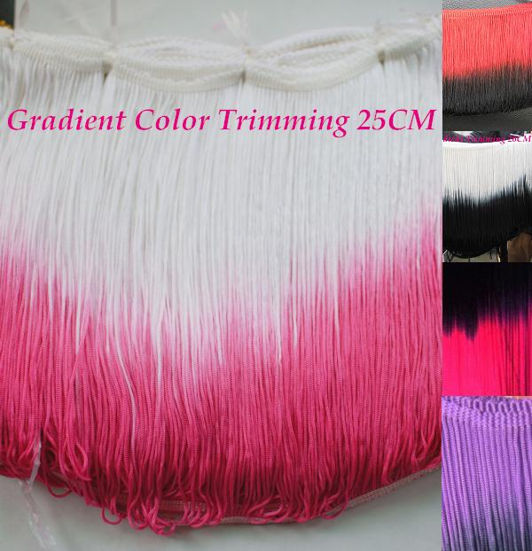 Dip Dye Ombre Fluor bright Fringe Tassel blend color trimming Lace Green red rose gradient 23-25cm 16 colors(China (Mainland))