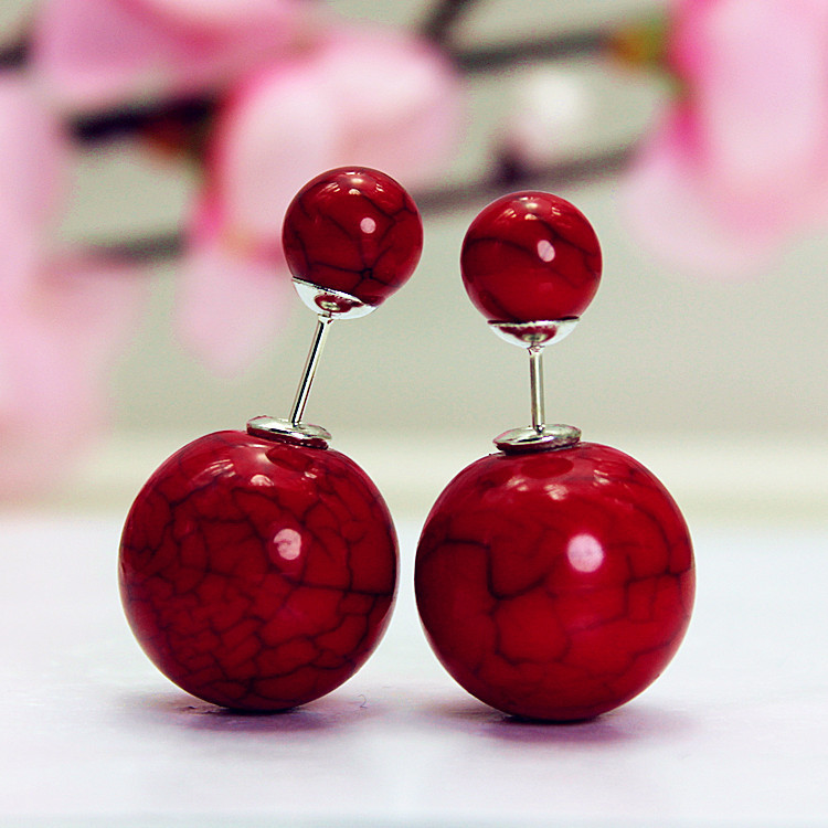 Hot Sell Fashion Earrings 2015 Cheapest Double  Pearl Stud Earrings Cracked porcelain beads earrings for women of summer style(China (Mainland))