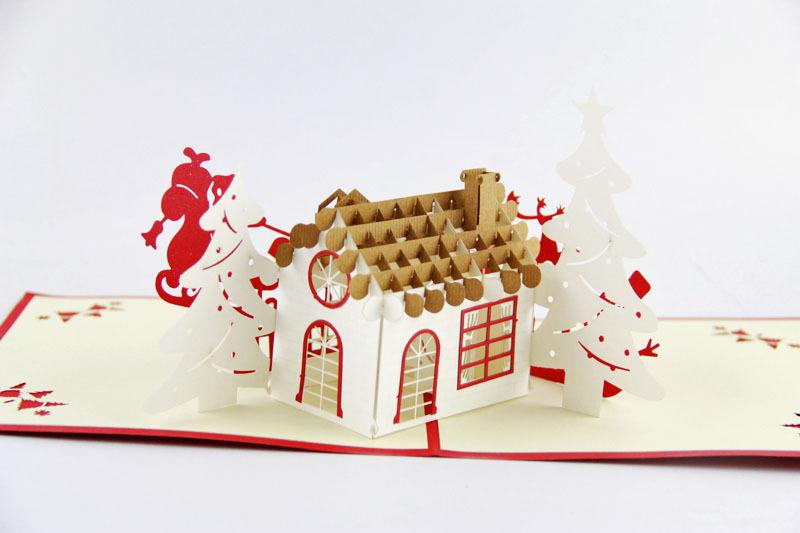 5pcs lot creative handmade 3d christmas greeting cards for Cute creative christmas cards
