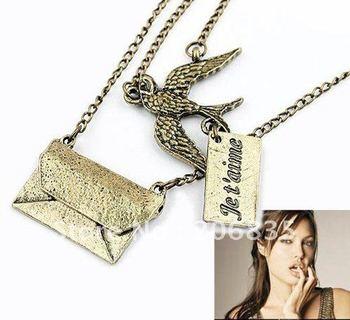 HOT!Korean Style Swallow Vintage Silver Necklace Pendant