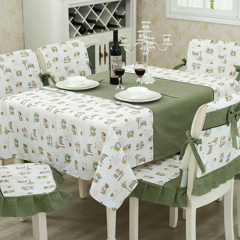 White And Green Patchwork Village Printed Cotton Tablecloth Party/Home/Banquet/Hotel/Wedding Use Table Cloth(China (Mainland))