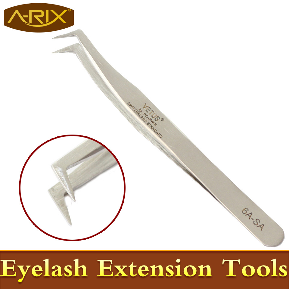 1pc/lot Stainless Steel Vetus Tweezers 6A-SA eyebrow extension Swiss Quality Anti Magnetic Professional Makeup Tools - Qingdao A-Rix Import And Export Co., Ltd. store