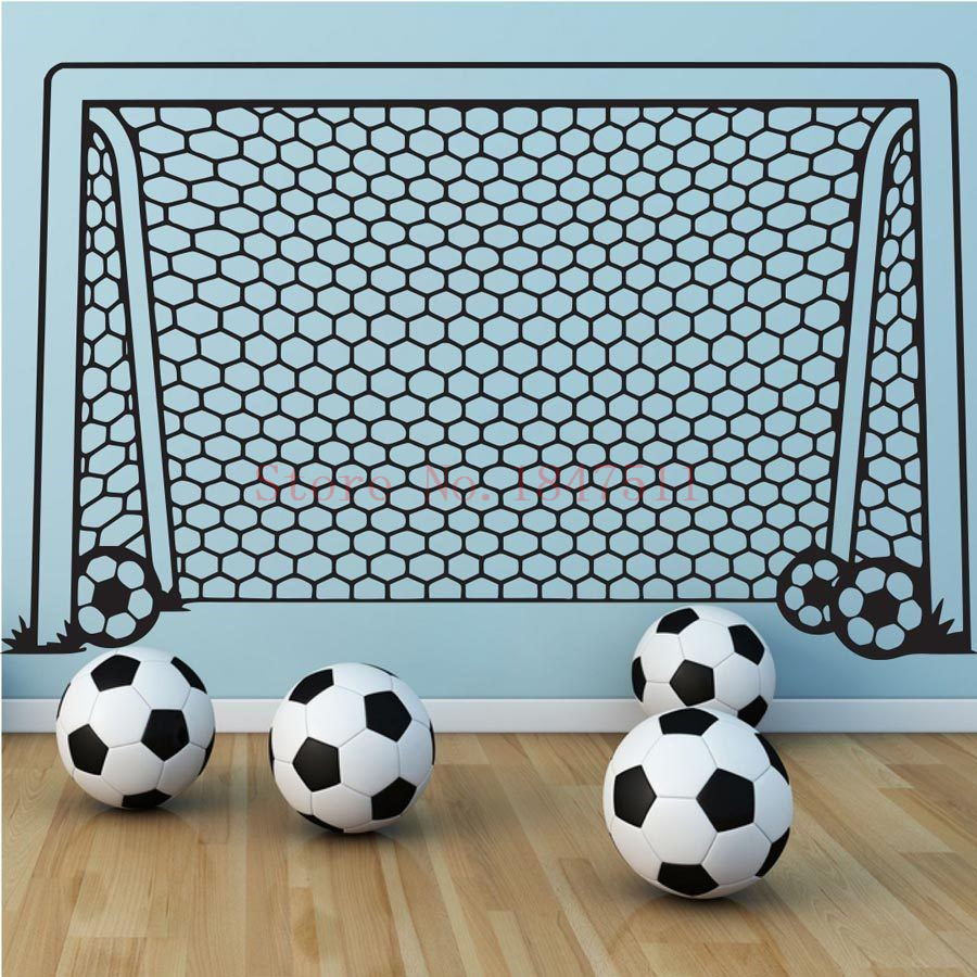E675 Football Goal Net Wall Stickers for kids room decoration DIY vinyl wall sticker(China (Mainland))