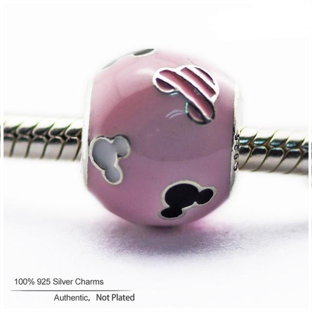 Новые Бусы Подходит для Pandora Браслеты Оригинальные Стерлингового Серебра 925 Розовый Мыши Значок Очарование DIY Оптовая