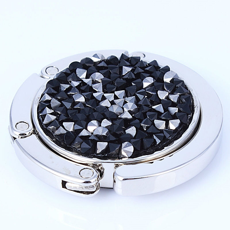 DC1989 New Arrival Jet Black & Hematite Crystals Women Handbag Hook Hanger Best Tools To Keep Your Bag Safe From Stolen or Lost(China (Mainland))