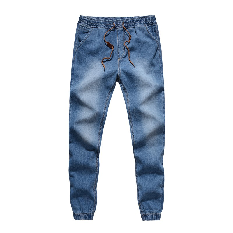 Mens Denim Jeans Men Drawstring Slim Fit Denim Joggers Mens Jeans Stretch Elastic Jean Pencil ...