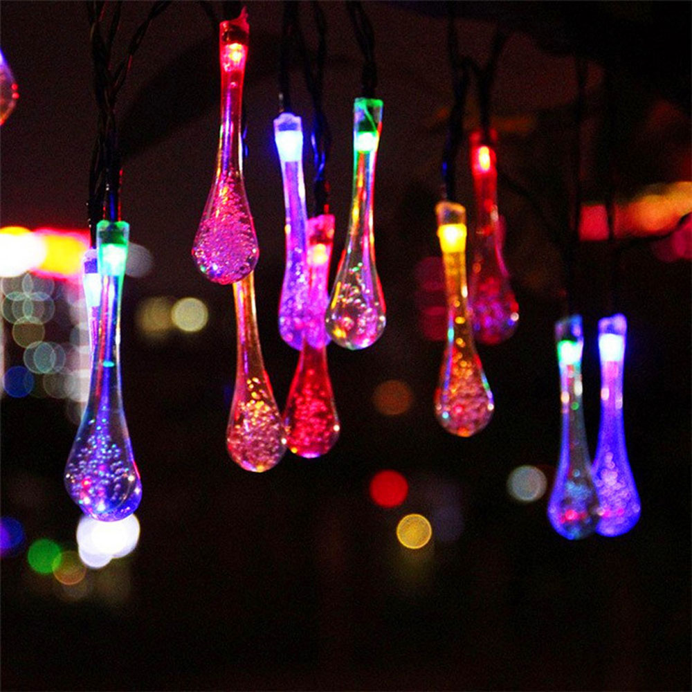 3 Colors 20 LED Solar Powered Water Drop String Lights LED