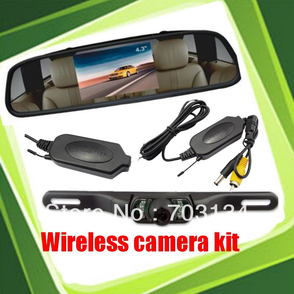 "wireless car rear camera license plate frame+4.3"" tft lcd Rearview Mirror Monitor Parking system for Automobile backup reversing(China (Mainland))"