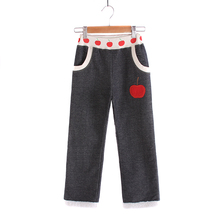 New arrival girls winter thick warm pants children knitted jeans fabric plus berber fleece lining loose trousers