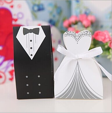Party decorationwedding Favors and gifts 100pcs Bride and Groom Wedding Favor Boxes Gift box Candy box 2015 wedding(China (Mainland))