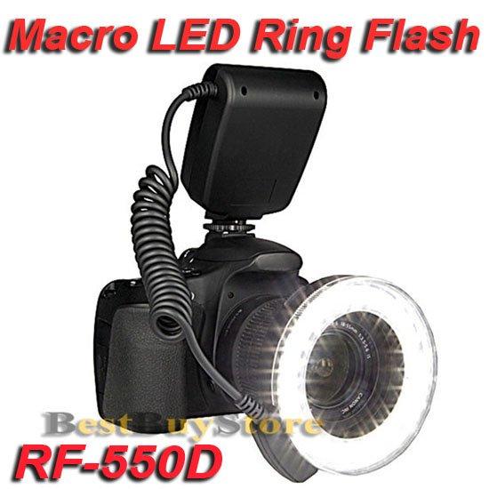 New RF-550D Macro O Ring light 48-LED Flash Light for 49 / 52 / 55 / 58 / 67 / 72 / 77mm Lens w / LCD, Free Shipping(China (Mainland))