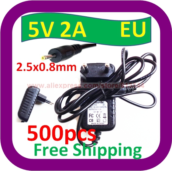 500 pcs Free Shipping 5V 2A AC Wall EU Plug Charger Power ADAPTER w 2.5mm Cord for Superpad VI/V10 Android Tablet(China (Mainland))