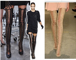 Strap Up Thigh High Boots
