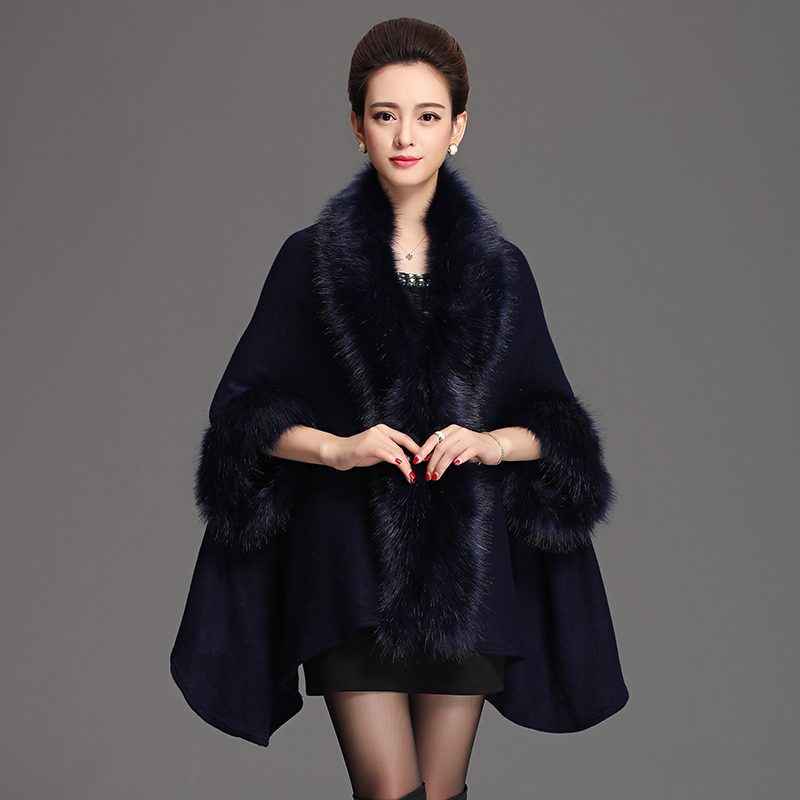 2016 Winter New Long Cashmere knitted thick wrap with Imitation Fox Fur collar Coat for Women Shawl Knitted Cardigan Lady capes(China (Mainland))