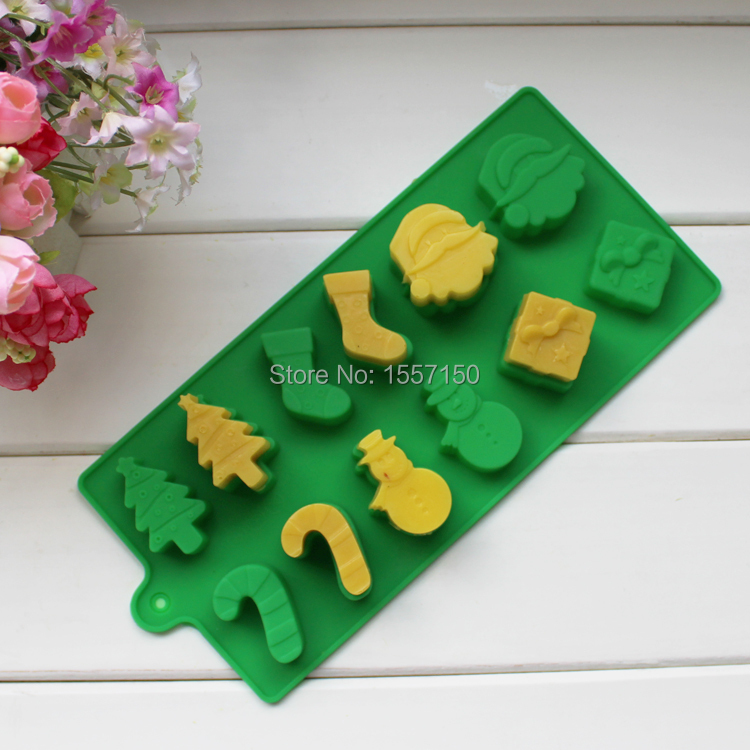 Silicone Christmas Cake Chocolate Soap Pudding Jelly Candy Ice Cookie Biscuit Mold Mould Pan Bakeware Wholesales(China (Mainland))