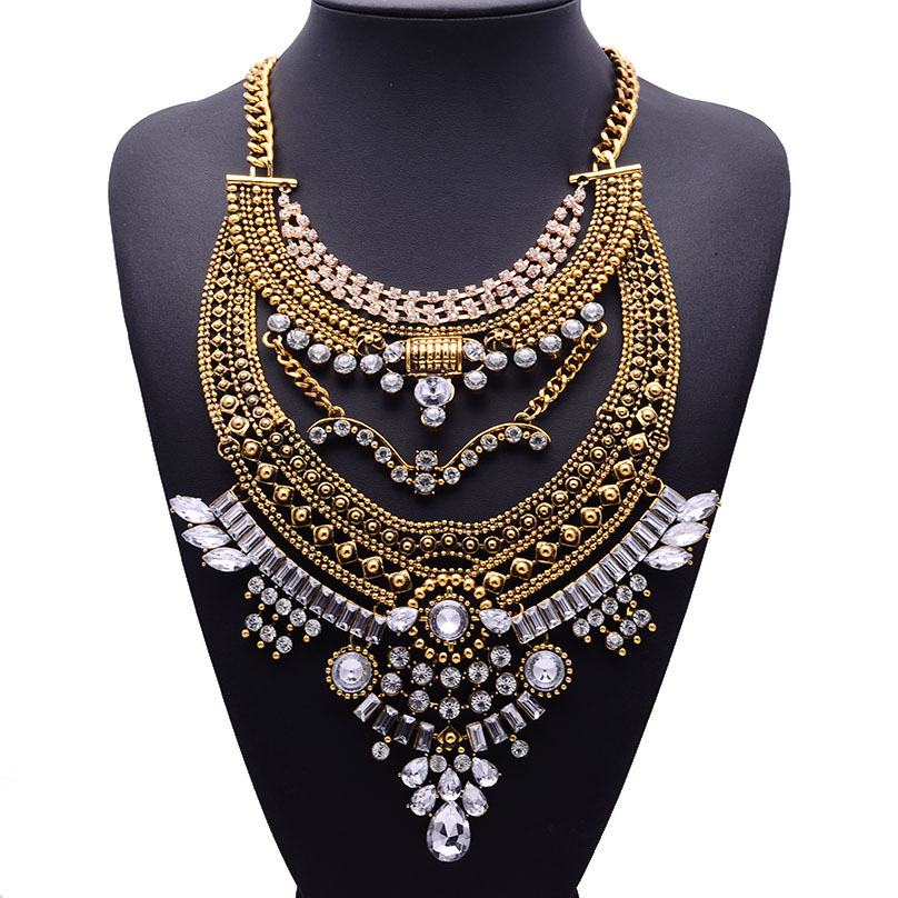 2015 Retro Fashion Alloy Inlaid Crystal Sweater Chain Statement Pendant Necklace 4904 - Ms. fashion jewelry shop store