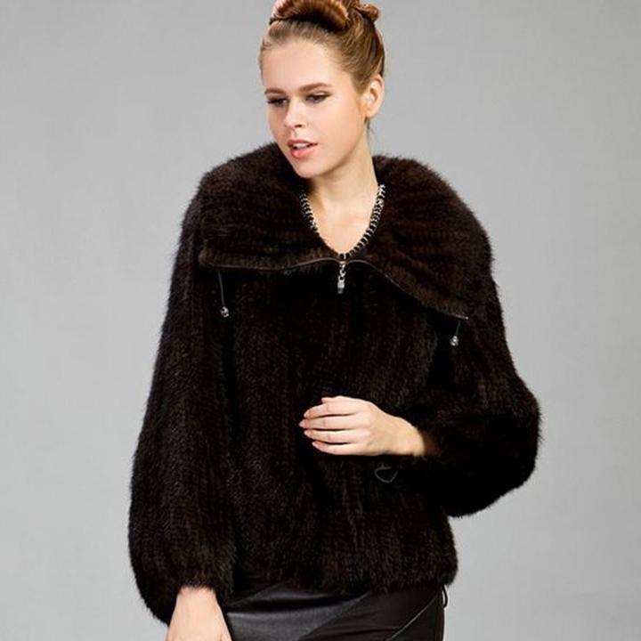 Fur Story 15199 2016 Women's Knitted Mink Fur Coat Mink Coat Big Collar Zipper Plus Size Big Lapel Natural Fur Coats Female(China (Mainland))